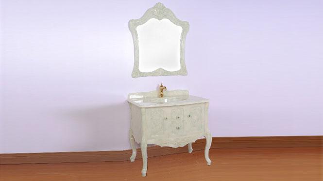 浴室柜组合落地玉石简约现代 卫浴柜洗脸盆柜组合洗手台玉石1000mm800mm900mm 全绿玉