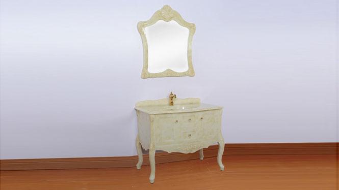 浴室柜组合欧式卫浴柜玉石盆洗手盆洗脸盆柜卫生间洗漱台900mm800mm1000mm 全黄玉