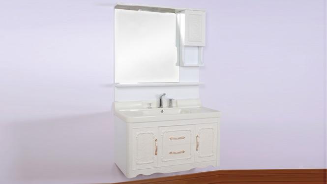 浴室柜欧式仿古落地柜 实木橡木挂墙卫浴柜洗脸洗手盆组合玉石台面 1000mm900mm800mm 100A