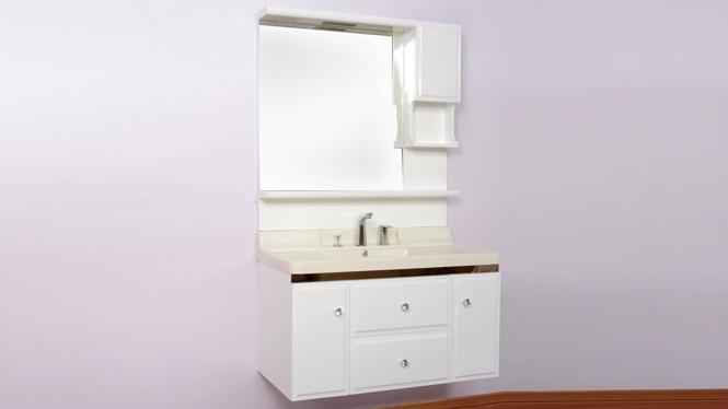 挂墙浴室柜组合橡木实木卫浴柜洗脸台卫生间洗手玉石盆 1000mm900mm800mm B7