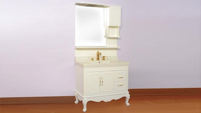 高档实木整体浴室柜组合 新款玉石台盆落地卫浴柜洗漱台1000mm900mm800mm 90L