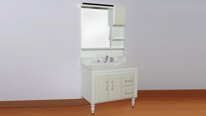 PVC整体浴室柜组合落地 玉石盆卫浴柜洗脸盆现代简约 900mm800mm1000mm 3076