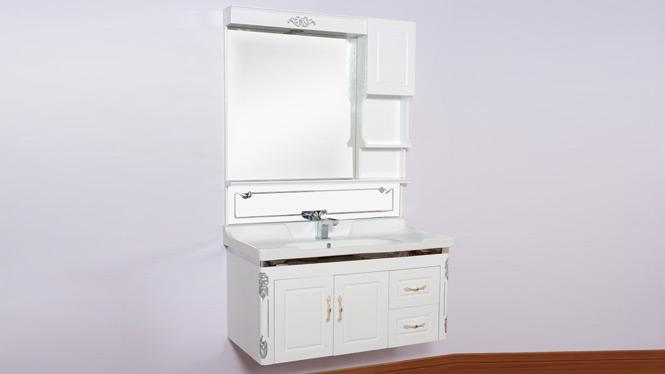 欧式现代简约PVC整体浴室柜组合挂墙式吊柜卫浴柜洗脸盆组合 1000mm800mm700mm600mm 3090