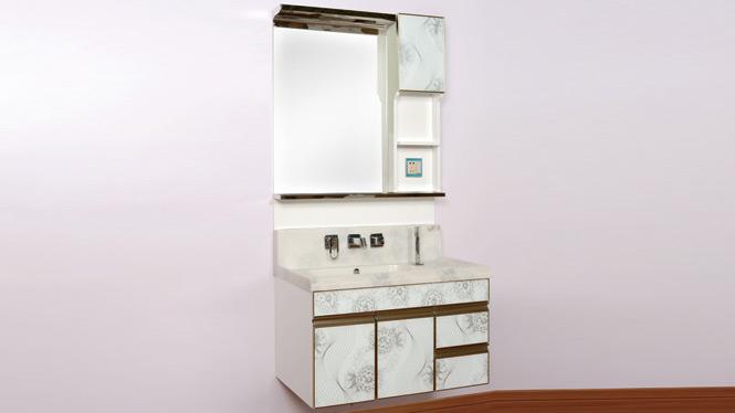 PVC浴室柜组合玉石盆洗脸盆现代简约卫生间洗漱台欧式卫浴柜1000mm900mm800mm 白牡丹