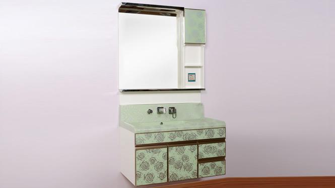 PVC浴室柜欧式简约 吊柜防水玉石盆浴室柜 洗漱台 洗脸盆柜组合1000mm900mm800mm 绿玫瑰