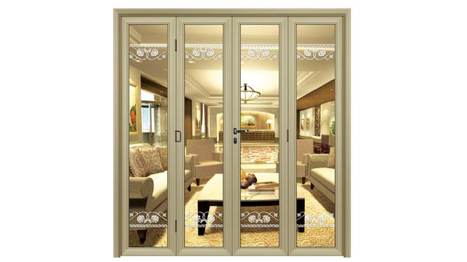 大折叠阳台钢化玻璃隔断门客厅铝镁钛合金室内折叠门60 DS13105
