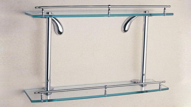 五金卫浴挂件 双层玻璃架 全铜镀铬平台浴室毛巾架 双层置物架OL-1612