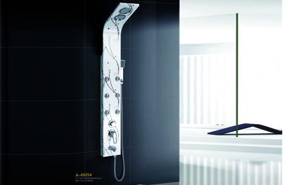 304不锈钢淋浴屏淋浴柱屏花洒套装喷淋冷热按摩下出水 A-6025#