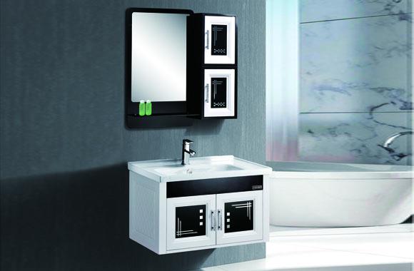 太空塑浴室柜 卫生间洗手盆柜组合 挂墙式浴柜镜柜套 储物柜 820mm C213