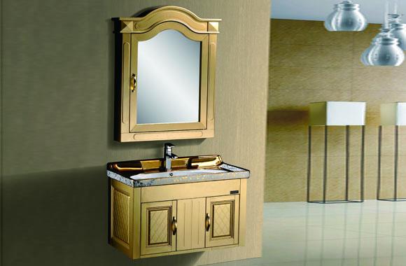 太空塑浴室柜 卫生间洗手盆柜组合 挂墙式浴柜镜柜套 储物柜 820mm C214