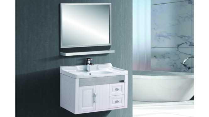 小型浴室柜卫浴整体小型太空塑浴室柜挂墙式陶瓷洗手盆 720mm B217/C217