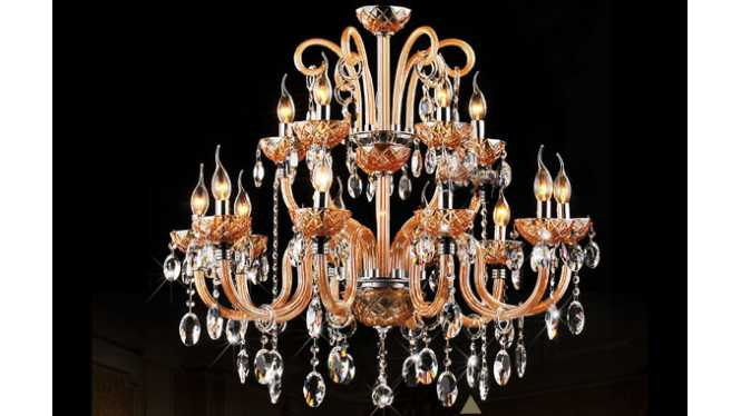 现代简约欧式水晶灯蜡烛灯具琥珀色水晶吊灯饰DS02