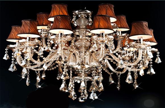 烟灰色欧式现代水晶吊灯酒店客厅水晶蜡烛灯水晶灯饰DS31