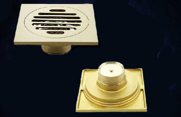 铜质铜色单用防臭条形地漏 全铜卫生间地漏 含地漏盖过滤网 T8077G