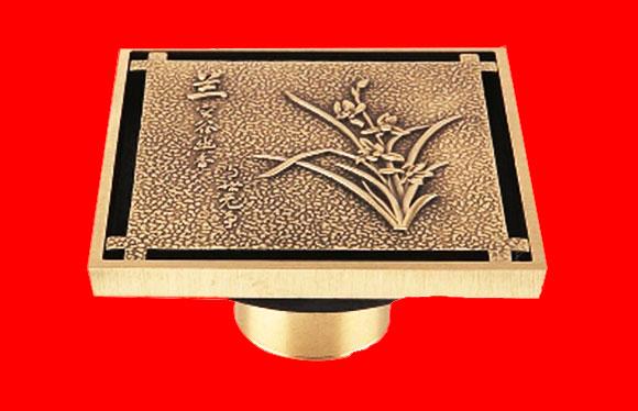 兰花纹铜质铜色单用防臭地漏 T8088Q
