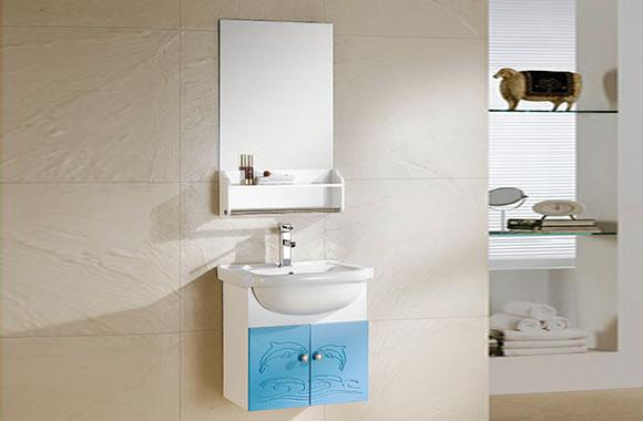 PVC浴室柜组合 洗手盆洗脸盆吊柜 卫生间小洗漱台 550mm 8175-1