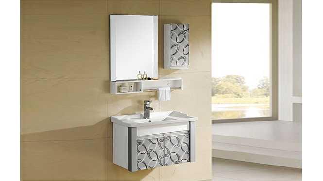 PVC浴室柜组合 洗手盆洗脸盆吊柜 卫生间小洗漱台810mm 8173