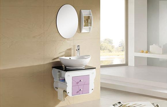 PVC浴室柜组合 洗手盆洗脸盆吊柜 卫生间小洗漱台 590mm 8029