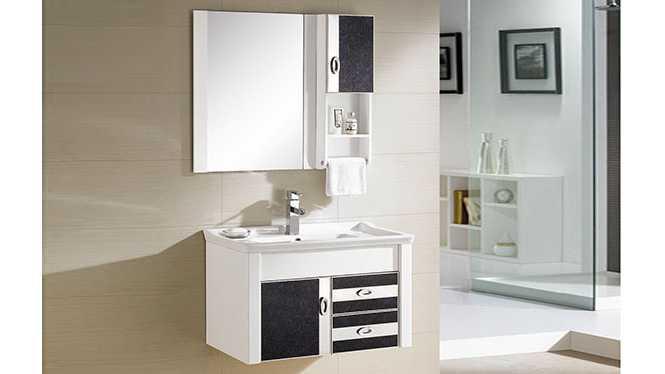 PVC浴室柜组合 洗手盆洗脸盆吊柜 卫生间小洗漱台 790mm 8186