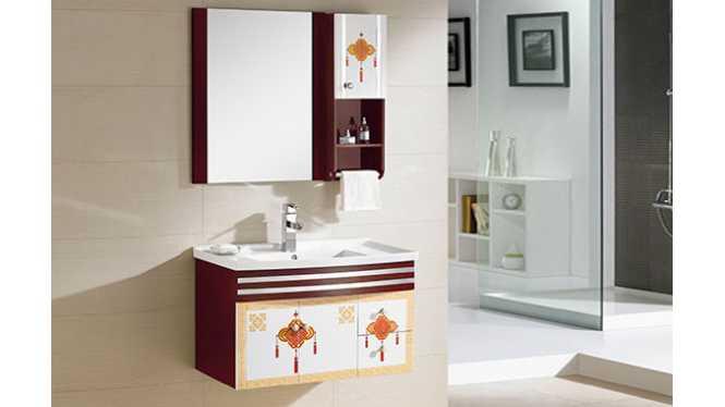 PVC浴室柜组合 洗手盆洗脸盆吊柜 卫生间小洗漱台800mm 8191