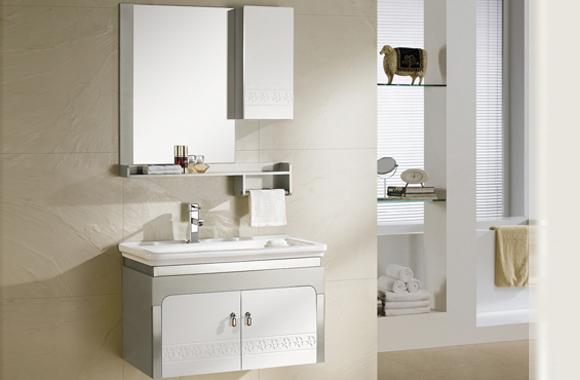 PVC浴室柜组合 洗手盆洗脸盆吊柜 卫生间小洗漱台815mm 8121