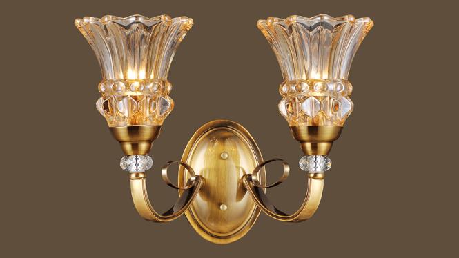 玻璃壁灯 豪华美式壁灯 特色led壁灯 优雅家居玻璃壁灯MDS8602-2W