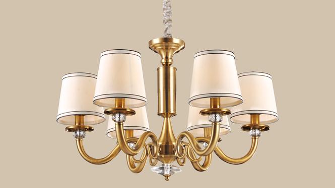 卧室吊灯 水晶吊灯客厅美式灯 典雅铁艺吸顶吊灯MDS8605-6P
