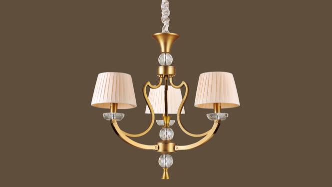 复古铁艺乡村美式吊灯 简约创意布艺吊灯 LED吊灯MDS8601-3P