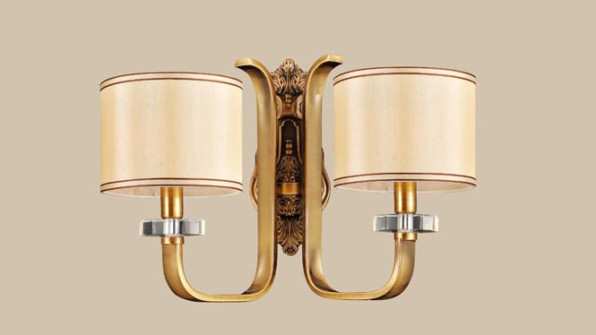 简约布艺壁灯 美式豪华壁灯 时尚客厅卧室壁灯客厅卧室MDS8603-2W