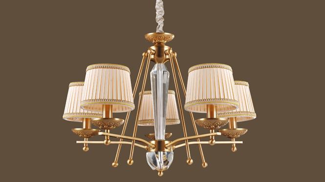 客厅吊灯灯饰 精美美式布艺吊灯 典雅大厅客厅 室内家居MDS8604-5P