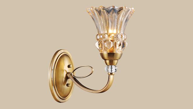 室内装饰灯 灯饰 豪华美式壁灯 奢华室内 优雅玻璃MDS8602-1W