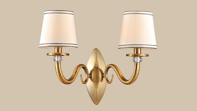 美式壁灯新款 美式 美式高级壁灯 优质 布艺灯罩壁灯MDS8605-2W