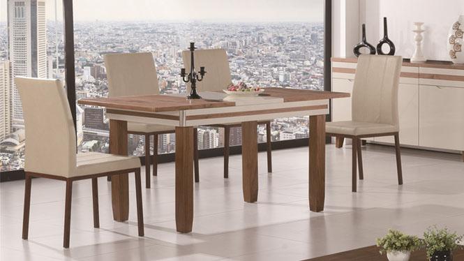 现代全实木餐桌椅组合小户型伸缩折叠长方形功能橡木餐台1425#