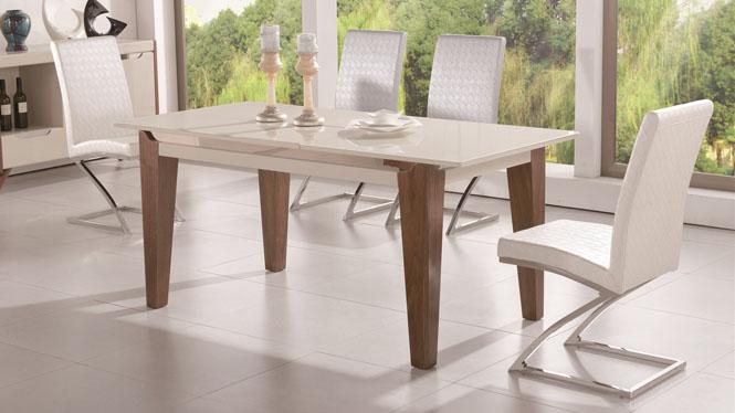 实木电磁炉餐桌椅组合简约现代多功能可伸缩折叠长方餐桌1427#
