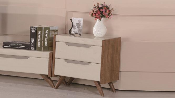 实木床头柜白橡木卧室家具储物柜环保二斗柜1427#