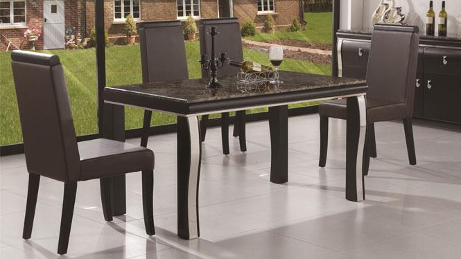 简约现代时尚餐台 黑色橡木实木餐桌 长方形餐桌椅组合1428#