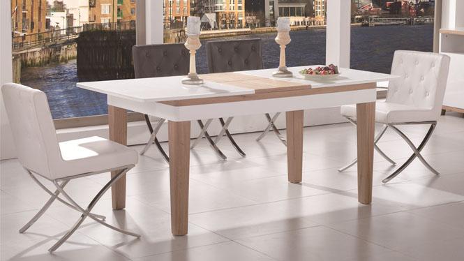 餐桌椅组合伸缩 简约现代实木长方形餐台 小户型折叠餐桌1429#