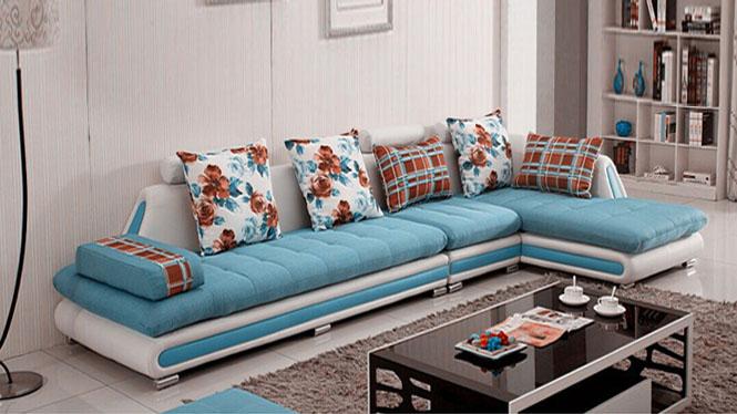 新款布艺沙发现代简约大小户型客厅转角皮布沙发组合家具