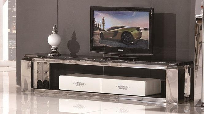简约不锈钢烤漆电视柜小户型 钢化玻璃液晶电视机柜1304