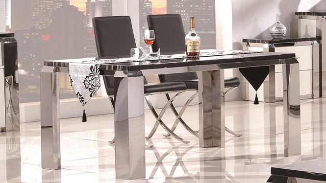餐桌 高档大理石 餐桌椅组合 简约现代 不锈钢餐桌1304