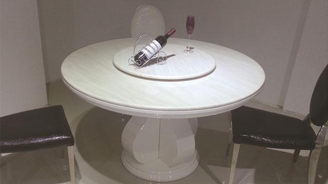 大理石餐桌圆桌餐桌椅组合实木圆餐台带转盘双层1301A