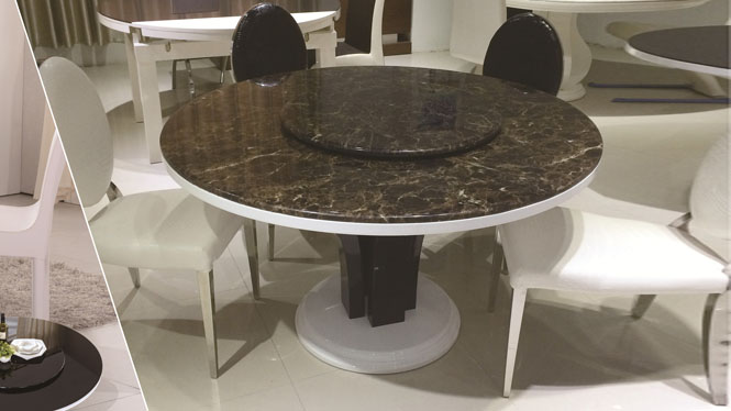 现代简约实木大理石桌餐桌椅组合餐台宜家小户型圆台1302A