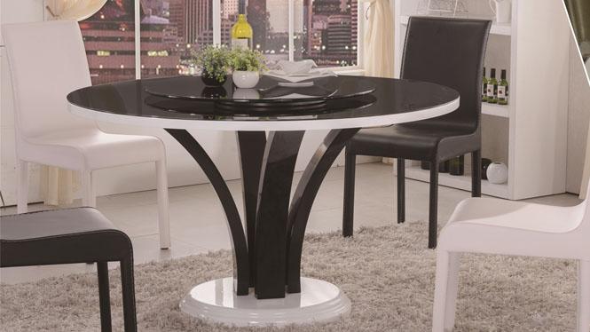 餐桌圆桌简约时尚餐桌圆形实木餐桌椅组合带转盘餐台饭桌1302A