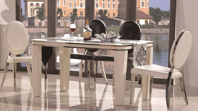 简约现代餐桌椅组合长方形现代实木餐桌台组合1298