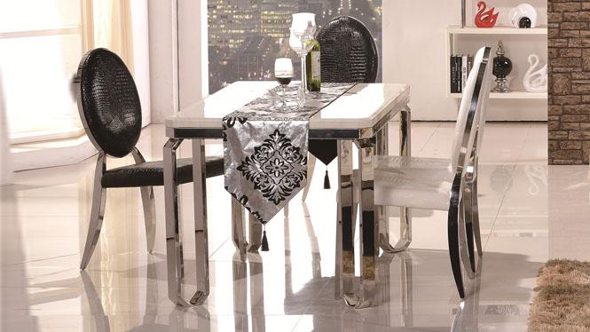 大理石餐桌组合 后现代简约白色不锈钢小户型餐台3301