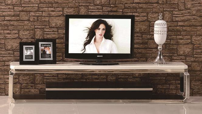 现代简约小户型客厅不锈钢大理石电视机柜茶几组合3301
