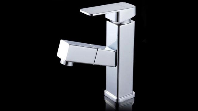 全铜抽拉式水龙头卫浴室洗脸池单孔面盆洗头冷热拉伸缩旋转SQ-20731