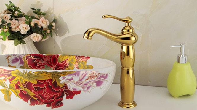 全铜欧式加高 新款钛金水龙头 浴室洗脸池面盆冷热水龙头SQ-21536T