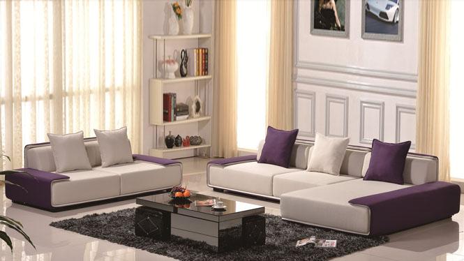 布艺沙发现代简约大小户型客厅转角皮布沙发组合家具369