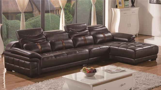简约现代转角真皮沙发 头层中厚牛皮组合大小户型进口皮艺沙发L型HH002